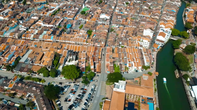 aerial video of historical area of melaka, showing the red historical building and its surrounding - malacca stock videos and b-roll footage