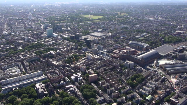 Aerial video of Kings Cross Station, St Pancras Station, Euston Station and Bloomsbury, central London