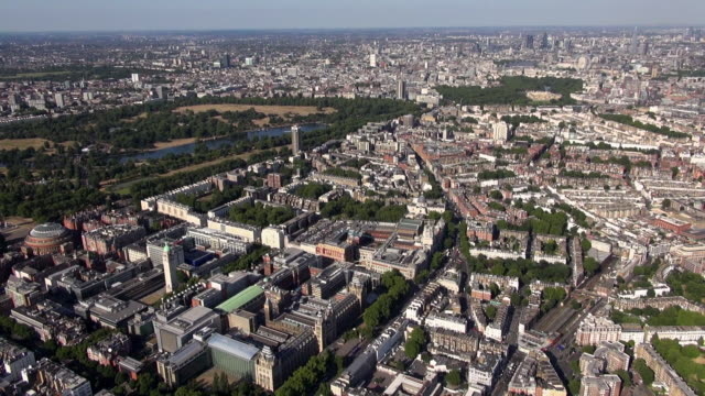 aerial video of knightsbridge, brompton, south kensington and hyde park including the royal albert hall, museums and imperial college, with distant views eastwards over westminster and central london - hyde park london stock videos & royalty-free footage