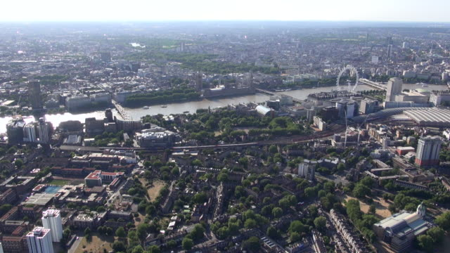 aerial video of lambeth and river thames from waterloo bridge to lambeth bridge with views of london eye, palace of westminster and north london - lambeth stock videos & royalty-free footage
