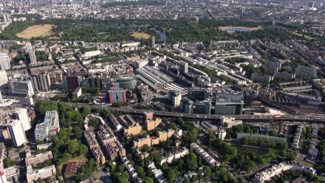 Aerial video of Little Venice, Paddington and Marylebone flyover, with views beyond southwards to Hyde Park and Kensington Gardens