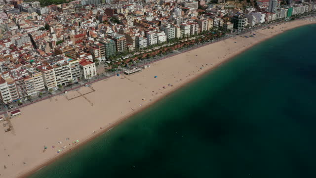 aerial video of lloret de mar main beach and seafront on the costa brava in catalonia, spain - mar bildbanksvideor och videomaterial från bakom kulisserna