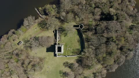 aerial video of lochleven castle on loch leven in scotland, uk - scottish culture stock videos & royalty-free footage