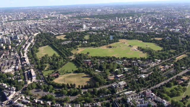 Aerial video of London Zoo and Regent's Park with Regent's Canal and Prince Albert Road and views over Marylebone and beyond
