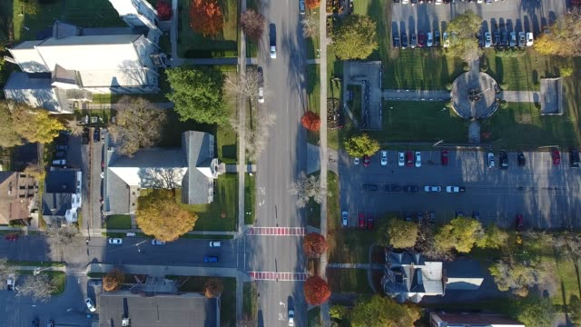 aerial video of main street in auburn, ny - small town stock videos & royalty-free footage
