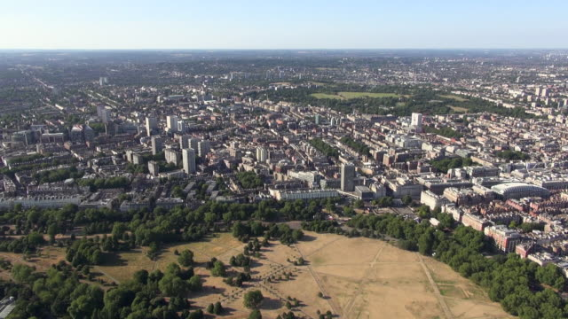 Aerial video of Marble Arch and West End, Paddington and Hyde Park, with distant views over north west London