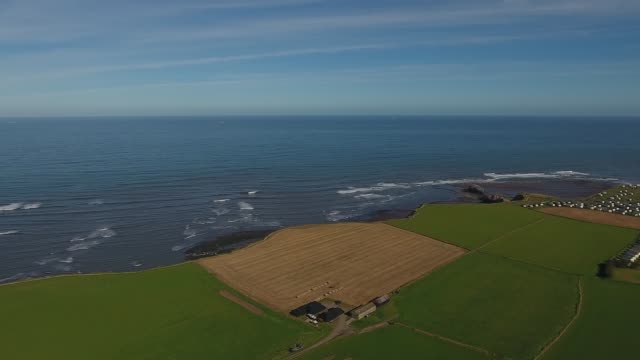 aerial video of north yorkshire coast and north sea - whitby north yorkshire england stock videos & royalty-free footage