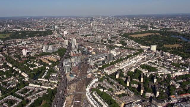 Aerial video of Paddington and Paddington Station, Edgware and Westminster with panoramic views eastwards over central London and beyond