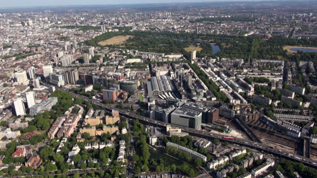Aerial video of Paddington, Little Venice, Edgware and A40 Westway, Marylebone Flyover, with views southwards over Hyde Park, Mayfair and Knightsbridge