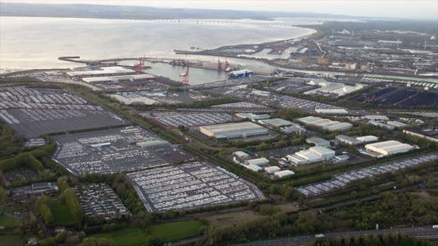 aerial video of portbury car import. bristol, uk. - somerset england stock videos & royalty-free footage