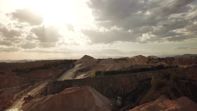 aerial video of quarry in south of france , orgnac , with  materials and machines, 2018 spring - mine stock videos & royalty-free footage