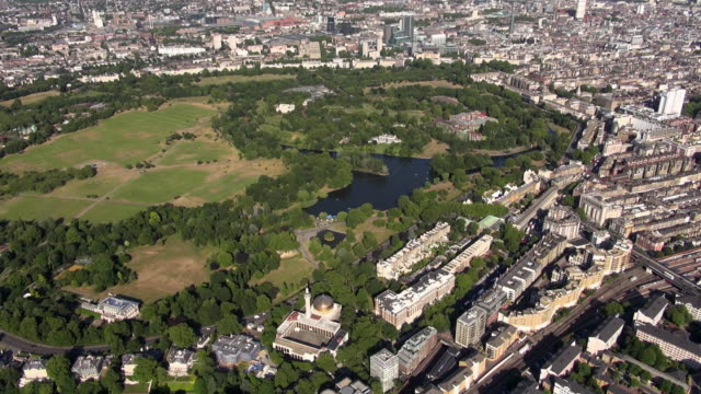 aerial video of regent's park including boating lake, the islamic cultural centre and london central mosque, with views over marylebone - london central mosque stock videos & royalty-free footage