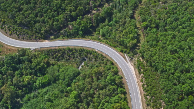 Aerial video of road in the Pyrenees mountain
