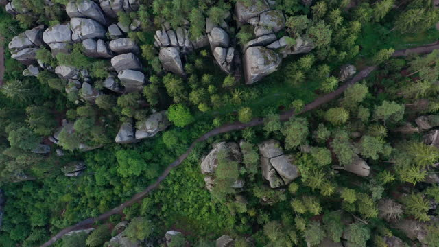 aerial video of sandstone towers and forest, adersbach, adrspach, czech republic - drone footage - czech republic stock videos & royalty-free footage