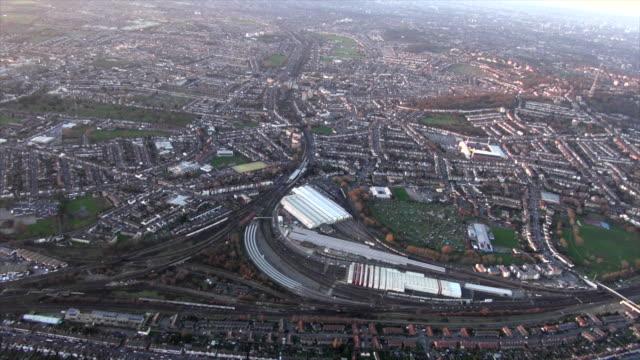 aerial video of selhurst railway station. - twilight stock videos & royalty-free footage