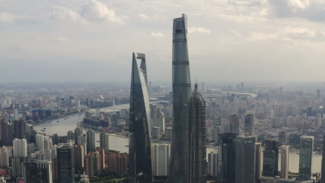 aerial video of shanghai city skyline - lujiazui stock videos & royalty-free footage