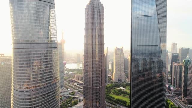 aerial video of shanghai city skyscrapers - lujiazui stock videos & royalty-free footage