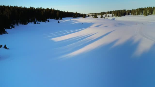 vídeos de stock, filmes e b-roll de aerial video of snowy, winter mountain landscape in colorado u.s.a. - neve seca e solta