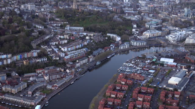 aerial video of spike islands by dusk. bristol, uk. - bristol england stock videos & royalty-free footage