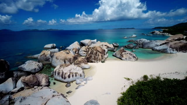 aerial video of spring bay beach, virgin gorda, bvi - bay of water stock videos & royalty-free footage