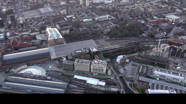 Aerial video of St. Pancrass station.