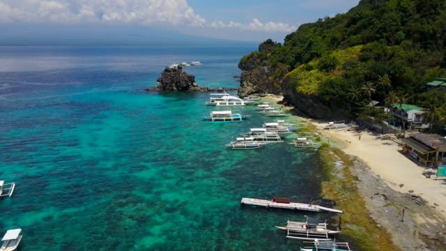 Aerial video of the beautiful beach at the APO Island in Philippines.