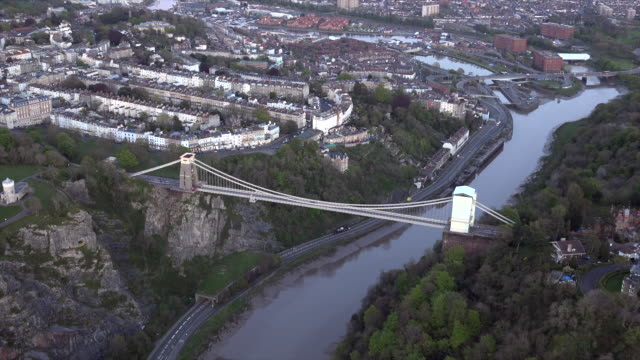 aerial video of the clifton suspension bridge in clifton. bristol, uk. - bristol england stock videos and b-roll footage