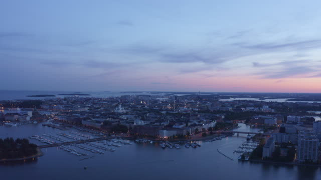 stockvideo's en b-roll-footage met aerial video of the downtown helsinki on a summer night - nacht