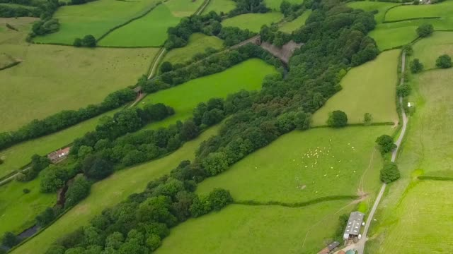 Aerial Video of the Esk Valley, Tracking shot with a train.