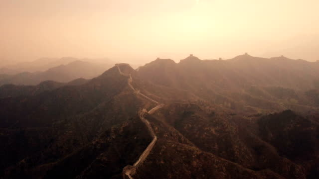 aerial video of the great wall of china - surrounding wall stock videos & royalty-free footage