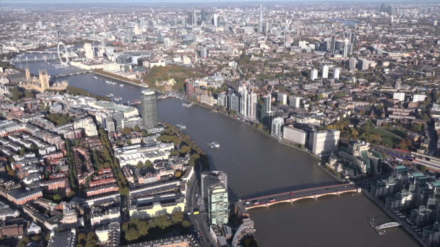Aerial video of the river Thames and Westminster.