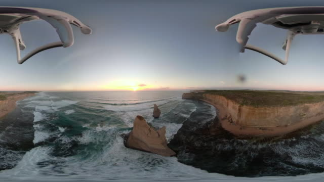 360 vr aerial video of the twelve apostles at sunset. - david ewing bildbanksvideor och videomaterial från bakom kulisserna