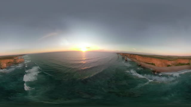 360 VR aerial video of the Twelve Apostles at sunset.