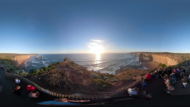 360 vr aerial video of the twelve apostles at sunset. - david ewing stock videos & royalty-free footage
