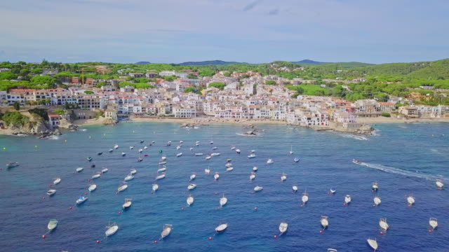aerial video of the village of calella de palafrugell, costa brava - spain stock videos & royalty-free footage