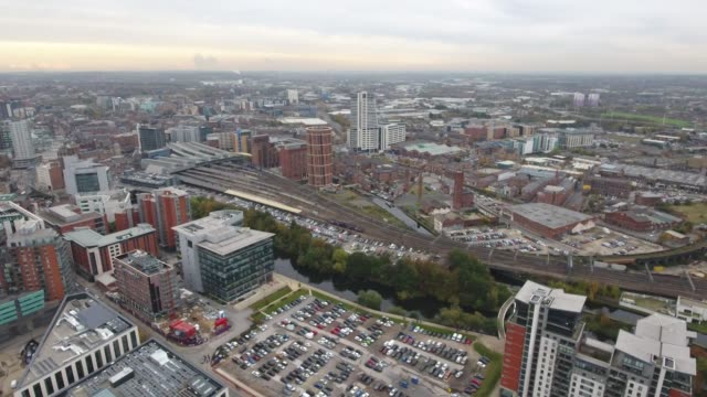 Aerial Video of Train Pulling Into Leeds Station