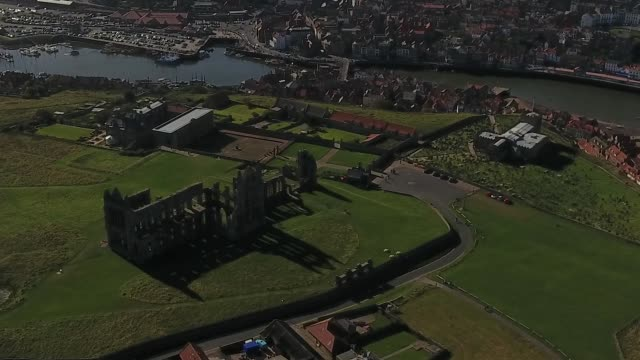 aerial video of whitby abbey and north yorkshire seaside town - whitby north yorkshire england stock videos & royalty-free footage
