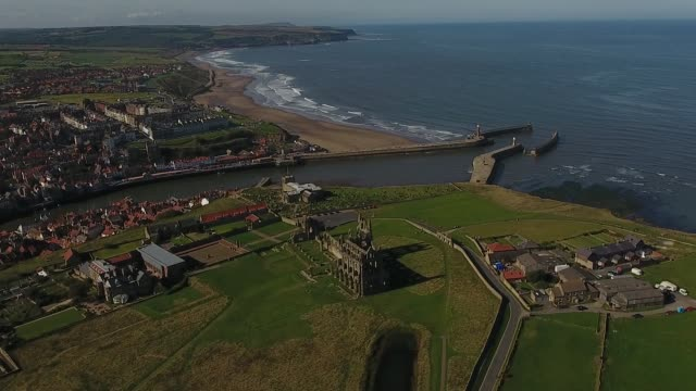 aerial video of whitby and north yorkshire coast - yorkshire england stock videos & royalty-free footage