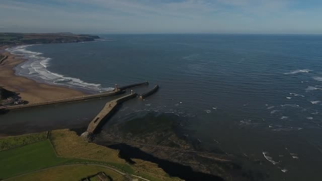 aerial video of whitby and north yorkshire seaside - whitby north yorkshire england stock videos & royalty-free footage
