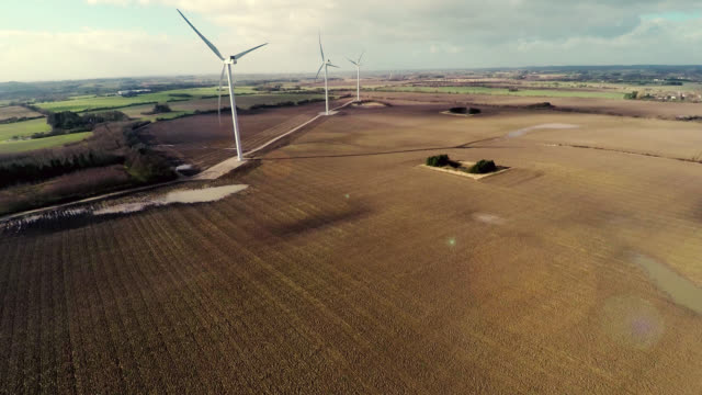 Aerial video of wind generator / wind turbine