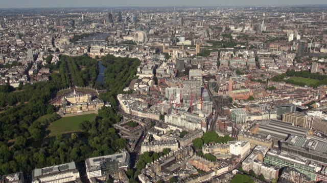 Aerial video panorama of Buckingham Palace, St James's Park and Victoria with a backdrop of Westminster, the London Eye and River Thames and views over London