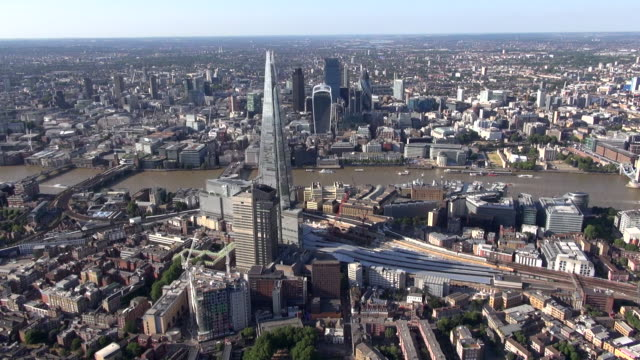 Aerial video panorama of Southwark and London Bridge, River Thames, The Shard and City of London