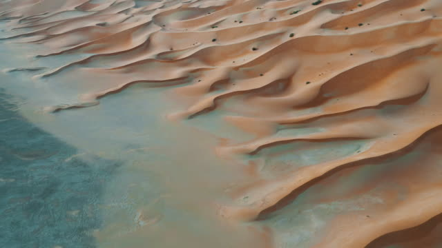 aerial video showing the incredible windswept patterns at the edge of a sand dune, abu dhabi, united arab emirates - arid stock videos & royalty-free footage