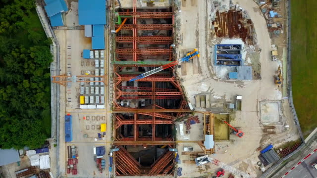 vídeos de stock e filmes b-roll de aerial video subway construction site singapore - obra