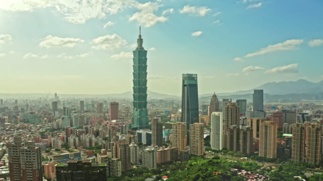 aerial video taipei with capital building taipei 101, taiwan - taipei 101 stock videos & royalty-free footage