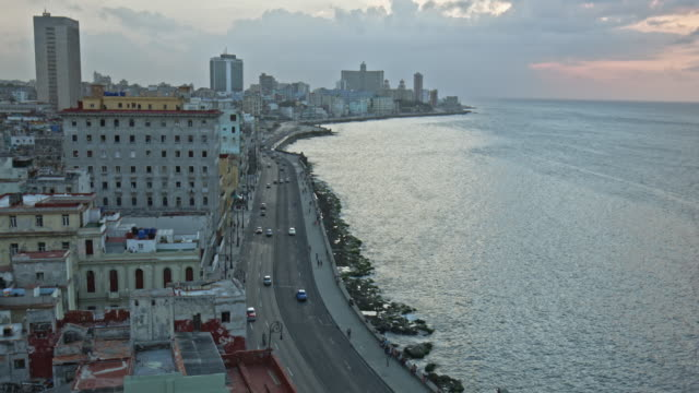 Aerial video view of Malecon in Havana, Cuba
