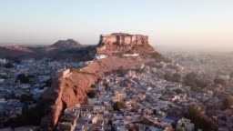 Aerial view 4k video by drone of Blue City And Mehrangarh Fort In Jodhpur