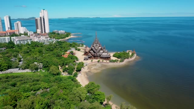 aerial view 4k video of pattaya thailand with wooden old historical temple - chonburi province stock videos & royalty-free footage