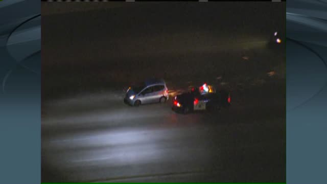 ktla aerial view a chase involving a honda fit ended in a storm of pit maneuvers on the 405 freeway in north hills one person was taken into custody... - pursuit concept stock videos and b-roll footage