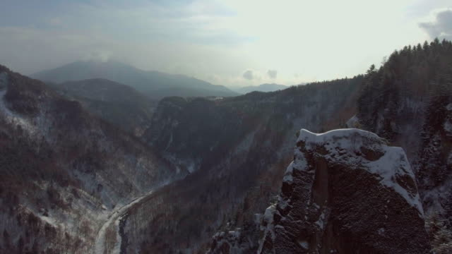 航空写真ビュー a ミスティ冬 - かすみ点の映像素材/bロール